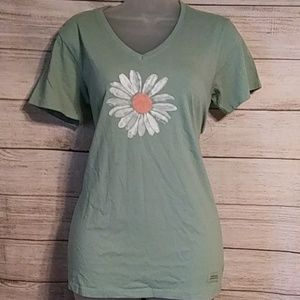 Life Is Good Tops - Life is Good tee shirt in green with flower
